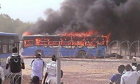 صورة توضح حرق الباص
